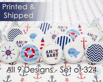 Ships Ahoy Baby Shower Nautical Themed Decoration Favor Stickers for Hershey Kisses, Envelope Seals, & Miniature Candies (Set of 324)