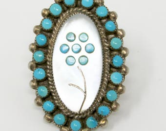 Vintage Zuni Turquoise and Shell Flower Ring Native American Sterling Silver