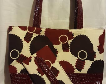 Burgundy Afro Tote Set