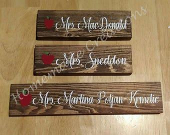 Wooden Teacher Name Plate