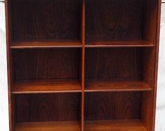 rosewood midcentury danish glass door bookshelf display cabinet