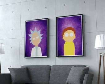Rick and Morty Print, Rick and Morty Poster, Rick Sanchez, Pickle Rick, Rick and Morty Art, Pickle Rick, Rick Morty Poster, Twin Pack,
