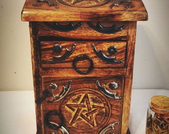 Herb Chest - Wiccan Chest - Storage Chest - Witch Cabinet - Pagan - Witchcraft - Occult - Wicca - Herbs - Decor