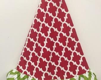 "Tree skirt-christmas tree skirt-52"" tree skirt-tree skirt w/ruffle-burlap-christmas-quadafoil"