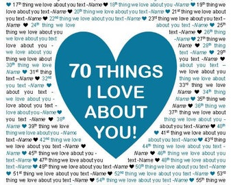 """16x20"""" Template in Microsoft Word for """"70 Things I Love About You"""" Editable and Printable Artwork"""