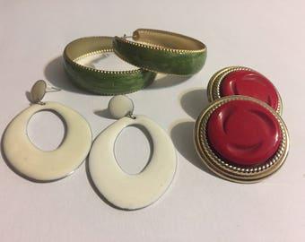 Lot Stud Earrings - Vintage Earrings - Retro Earrings - Green - Red - White - Dangle - Loop