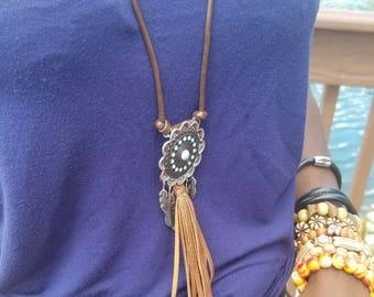 Boho leather tassell necklace