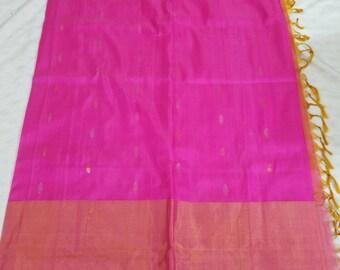 Uppada-Pure-Silk-100% Saree-Handloom-Indian-Wedding/engagement brilliant pink orange with big gold border-uppada-pattu-stitched blouse