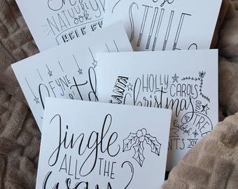Set of five Christmas cards
