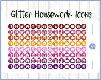 Glitter Housework Planner Stickers