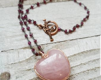 Rose Quartz Heart Pendant with Garnet bead chain