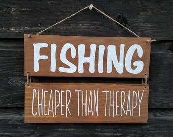 "Handpainted Reclaimed Wood ""Fishing-Cheaper Than Therapy"" Sign"