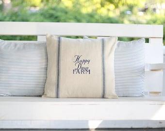 "Customized ""Happy Days"" Farm Grain Sack Pillow Cover"