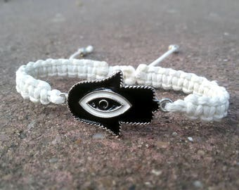 Hamsa bracelet Black White Shamballa bracelet Yoga gift for Woman Spiritual bracelet Buddhist jewelry Christmast gift White Hamsa jewelry