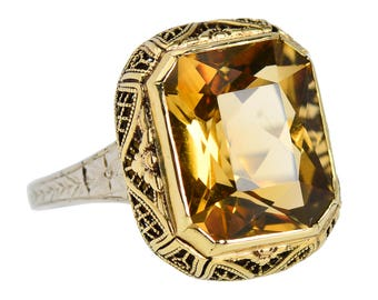 Art Deco Vintage Citrine Ring | Two Color White Yellow Gold Estate Citrine Ring | 1930's Filigree 7 Carat Citrine Estate Ring || 18002