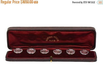 ON SALE Antique Art Nouveau Edwardian French Ruby Rock Crystal Rose Gold Buttons in Original Paris Box Gustave Keller || 18403