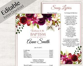 Baptism Program, Editable PDF, Printable Digital Handout Girl Baptism, Burgundy/Wine flowers, watercolor, Girl Baptism, Program Template