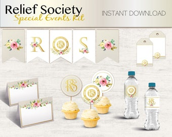 Relief Society Party Kit, Special Event Kit, Relief Society Birthday Party, Relief Society Party Decorations, Relief Society template