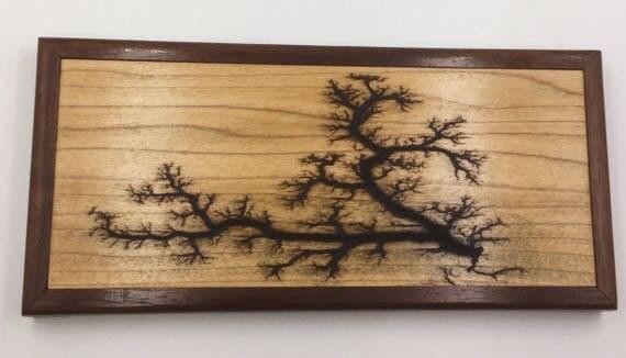 Small Lichtenberg Figure Art Print - Maple with Walnut Frame