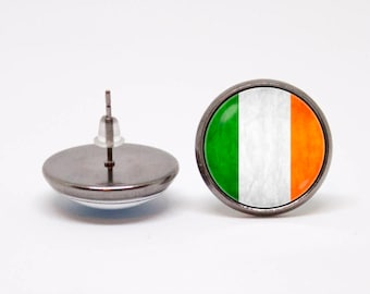 St. Patrick's Day earrings Irish flag earrings Ireland Gifts for her Patriotic jewellery Flag of Ireland Heritage Stud earrings National