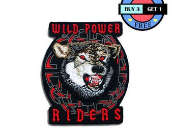 Wild Power Riders Wolf Bike Biker Motorcycle Embroidered Iron On Patch Heat Seal Applique Sew On Patches