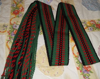 Russian Style Fringe Belt,African Clothing,Green & Red Sash,Native American,Southwestern Style,Gifts For Him,Dad Gift,Mexican Style Faja