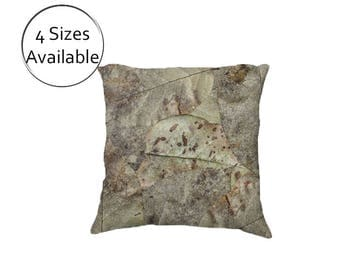 Brown Leaves Pillow Cover, Printed Throw Pillow Case, Decorative Leaf Print, Velveteen or Canvas, 18 22 inch, Lumbar, Rectanular, Square