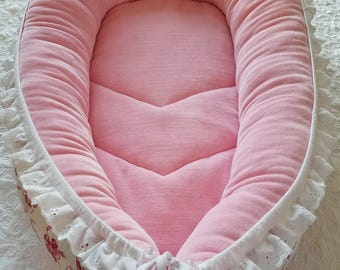 Ready to ship Baby nest , Pink white  baby shower gift, soft bed, co sleeper, play mat, travel bed