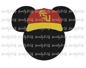 Instant Download SVG Studio3 - Mickey FSU Hat - PDF Jpeg File - Silhouette Cricut Design Florida State