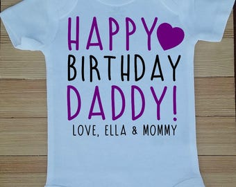 Happy Birthday Daddy Bodysuit, Dad's Birthday Bodysuit, Daddy Bodysuit, Cute Dad Birthday Present, Birthday Gift for Dad