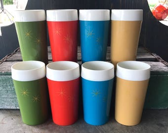 Vintage Tumblers Plastic Insulated Retro Starburst Cups set of 8