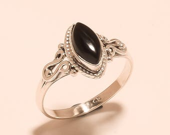 Natural Black Onyx Ring Onyx Cabochon Ring Sterling Silver Ring Black Onyx Gemstone Ring 925 Sterling Silver Onyx Marquise Ring Us9 E-1231
