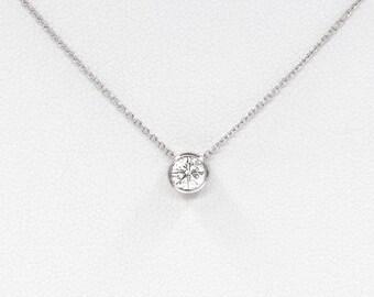 Diamond Solitaire Necklace, Diamond Necklace, Natural Brilliant Cut Bezel Diamond Necklace, Minimalist 0.07 Ct. Tube Bezel Necklace