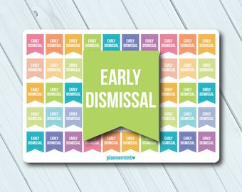 Early Dismissal Planner Stickers - Small Flags - Erin Condren Life Planner - Happy Planner - High School - Elementary - Matte or Glossy