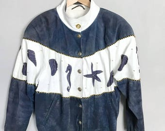 VINTAGE • Sea animals • Suede Leather Jacket • M / L • Marine •  Rarity • Leather Jacket • White • Gold buttons • Dark Blue • 80's Jacket