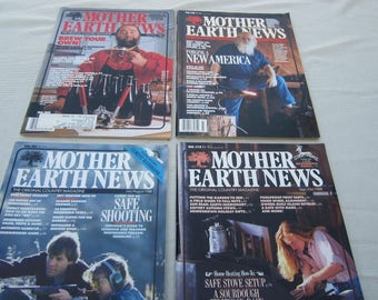Mother Earth News, 1988 magazines, Home Brewing, gun safety, country living, organic gardening, recycling, Do it Yourself ideas. survivalist