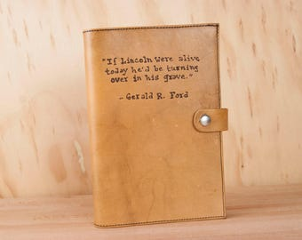 Engraved Leather Travel Journal - Personalized Blank Notebook in the Typeset Pattern with Custom Inscription - Antique Tan