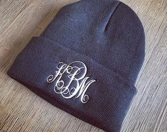 Monogrammed Beanie- Fleece-Lined Beanie- Embroidered Hat- Monogram Knit Cap- Personalized Winter Beanie