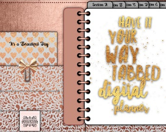 Digital Planner for GoodNotes, Have It Your Way, Tabbed, Rose Gold UPDATED