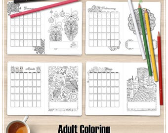 A5 Monthly Planner, Adult Coloring Planner, Printable Coloring Planner, Monthly Planner, agenda, Coloring Printable Pages, Coloring calendar