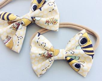 "Baby headband  , hair clip , bee  bow , fabric  bow , 3.5"" inches bow , 3"" bow , bow clip , bow headband , Bubble Bee"