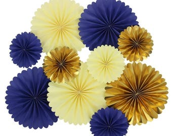 Navy and Gold Fan Decor Kit for Decorations Royal Boy Baby Shower Pack of 10