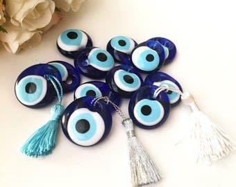 Wedding favors for guest, 100 pcs blue evil eye  beads, bulk gifts, tassel evil eye beads, unique wedding favors, wedding favor ideas, nazar