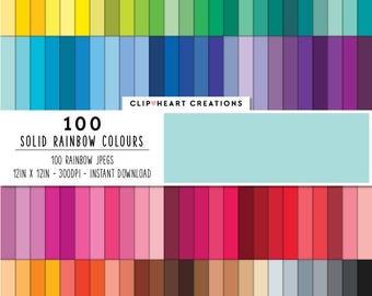 100 solid color paper, Digital paper, Commercial use, rainbow color, instant download, digital scrap booking paper, colorful digital paper