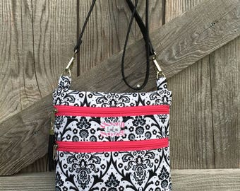 Crossbody Bag in a Damask Fabric, Hip Bag, pu leather strap