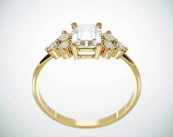 SALE! 14K Gold Moissanite and Diamonds Engagement Ring  | Charles & Colvard Forever One Emerald Cut Mossanite Diamonds engagement ring