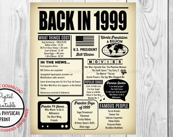 1999 The Year You Were Born, 19th Birthday Poster Sign, Back in 1999 Newspaper Style Poster, Printable, 1999 Facts, 19 years ago