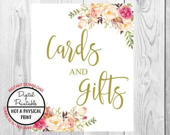 Vintage Gold Floral Boho Cards & Gifts Sign, Gold Flower Boho Wedding Sign, Printable, Bridal Shower, Baby Shower Sign, Birthday