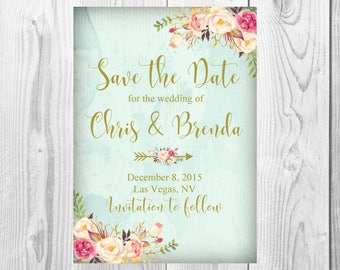Vintage Save the Date, Vintage Gold Floral Boho Wedding Invitation, RSVP Card Thank You Card Sign, Old Rustic Floral Boho Wedding Invite Set