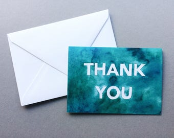 Thank You Cards // 1 pack / 5 pack / 10 pack // A6 Charity Greetings Card // White Block Letter Blue/Green Watercolour Cards